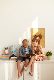 Kids with tablet computer Stock Image