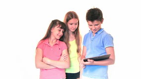 Kids with tablet computer stock video