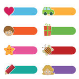 Kids tabs. Set of kids bright tabs isolated on white Royalty Free Stock Images