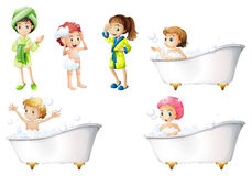 Kids taking a bath Stock Image