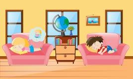 Kids taking nap on sofa Royalty Free Stock Image
