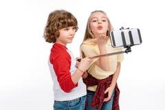 Kids taking selfie royalty free stock photos