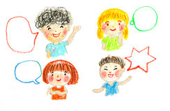 Kids talking and bubbles, oil pastel drawing illustration Royalty Free Stock Photography