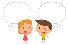 Kids talking. Flat character design. It is illustration Royalty Free Stock Photography