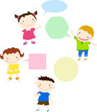 Kids talking and thinking with speech bubbles Stock Images
