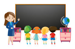 Kids and teacher in classroom. Illustration royalty free illustration