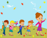 Kids and teacher are going to school. On the autumn background,illustration, vector royalty free illustration