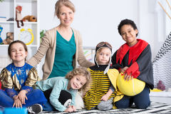 Kids and a teacher royalty free stock photo