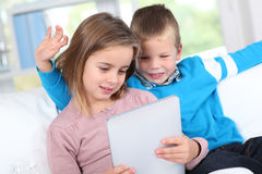 Kids and technology Royalty Free Stock Photo