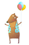 Kids Teddy Bear with Balloons Colorful Cartoon. Happy fun watercolor style animal congratulation for children cartoon illustration. Vector drawing vector illustration