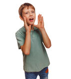 Kids teenager calling boy cries shouts opened his Royalty Free Stock Image