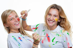 Kids teens painting Stock Image