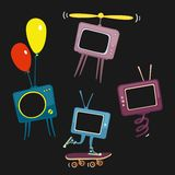 Kids Television Icons Vector Illustration. Eps 8 file format Stock Photography