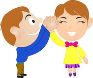 Kids Tell a Friend. Happy little child telling friend Stock Photography