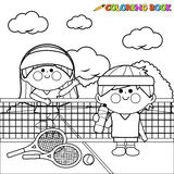 Kids tennis players at tennis court taking a break coloring book page Royalty Free Stock Image