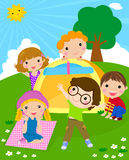 Kids and tent Royalty Free Stock Photography