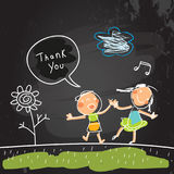 Kids thank you card. Kids thank you for help card, vector illustration. Sketch, scribble style doodle, chalk on blackboard vector illustration.Children singing Stock Photos