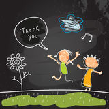 Kids thank you card. Kids thank you for help card, vector illustration. Sketch, scribble style doodle, chalk on blackboard vector illustration. Children jumping Royalty Free Stock Photography