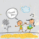 Kids thank you card. Vector illustration, with children singing, and speech bubble. Sketch, scribble style doodle Royalty Free Stock Photos