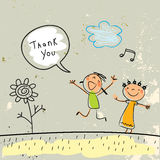 Kids thank you card. Vector illustration, with children singing, and speech bubble. Sketch, scribble style doodle Royalty Free Stock Image