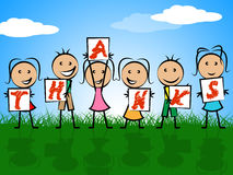 Kids Thanks Indicates Child Gratefulness And Appreciate. Kids Thanks Representing Gratitude Youth And Childhood Royalty Free Stock Image
