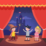 Kids theater performance show on scene. With red curtains and fairy tale castle scenery. Modern flat style vector illustration cartoon clipart Stock Images