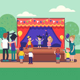 Kids theater performance show on scene Royalty Free Stock Photos