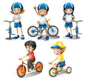 Kids with their bikes. Illustration of the kids with their bikes on a white background Stock Image