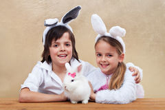 Kids with their favorite pet Stock Photo