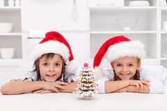 Kids with their gingerbread decorated tree Stock Photography