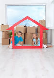 Kids in their new home Stock Photos