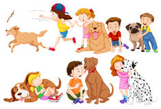 Kids and their pet dogs Stock Photos