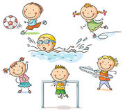 Kids and their sports activities royalty free illustration