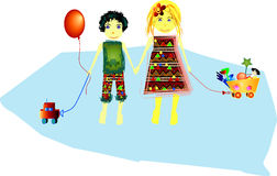 Kids with their toys. Brother, sister and their toys Royalty Free Stock Images