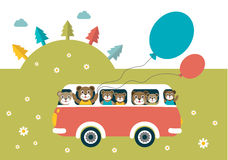Kids theme. Bus with happy bears. Royalty Free Stock Photography