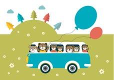 Kids theme. Bus with happy bears. Stock Photo