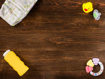 Kids' things on wooden background Stock Photo