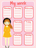 Kids timetable with beautiful teen character. Weekly planner for girls. School schedule design template Royalty Free Stock Photography