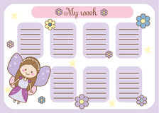 Kids timetable with cute fairy character. Weekly planner for children girls. School schedule design template Stock Photos