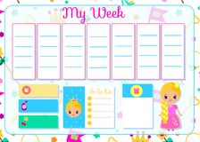 Kids timetable with cute princess. Weekly planner for children girls. School schedule design template. Vector illustration stock illustration