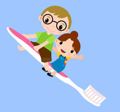 Kids and toothbrush Royalty Free Stock Image