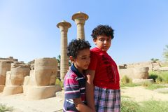 Kids Tourist stroll at Karnak Temple Luxor royalty free stock images