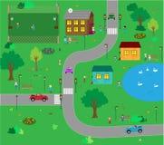KIds town cartoon Stock Photography