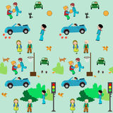 KIds town cartoon seamless pattren Stock Images