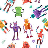 Kids toy robot, humanoid, spaceman, cyborg vector seamless pattern Royalty Free Stock Image
