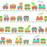 Kids toy train pattern. Children railroad toys, baby trains transport on rails and kid railway seamless vector vector illustration