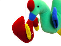Kids toys. Focus on the red one while the foregorund item is blurred Stock Photo