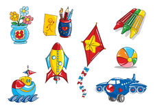 Kids toys. Various illustrations of kids toys and fun images Royalty Free Stock Images
