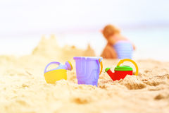 Kids toys at the beach, family vacation Royalty Free Stock Images