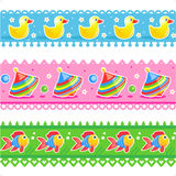 Kids toys borders seamless patterns royalty free illustration